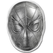 Fiji SPIDER-MAN 3D MASK MARVEL COMICS series SUPERHEROES MASKS Silver coin $5 Antique finish 2019 Concave shaped 2 oz